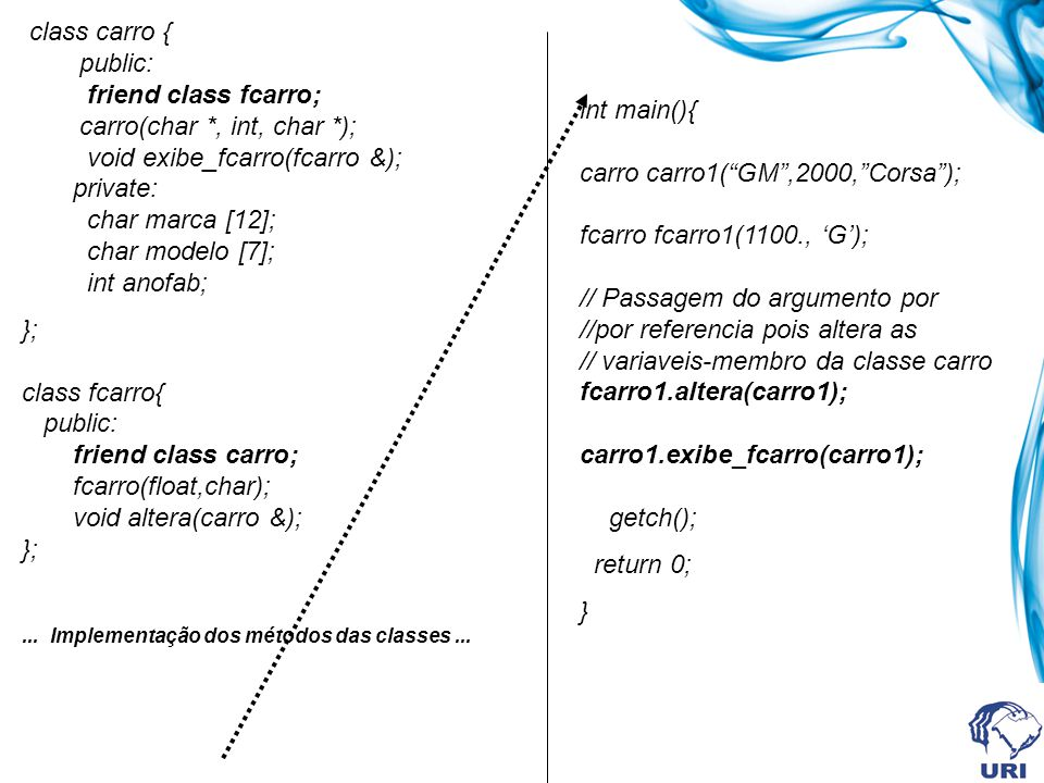 class carro { public: friend class fcarro; carro(char *, int, char *); void exibe_fcarro(fcarro &); private: char marca [12]; char modelo [7]; int anofab; }; class fcarro{ public: friend class carro; fcarro(float,char); void altera(carro &); };...
