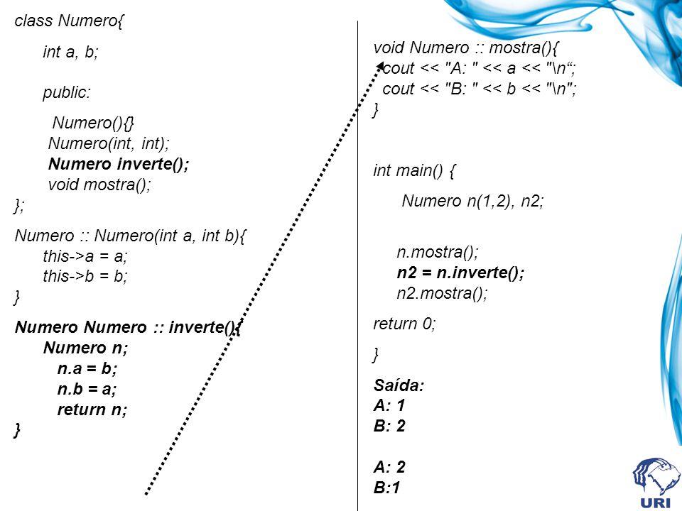 class Numero{ int a, b; public: Numero(){} Numero(int, int); Numero inverte(); void mostra(); }; Numero :: Numero(int a, int b){ this->a = a; this->b = b; } Numero Numero :: inverte(){ Numero n; n.a = b; n.b = a; return n; } void Numero :: mostra(){ cout << A: << a << \n; cout << B: << b << \n ; } int main() { Numero n(1,2), n2; n.mostra(); n2 = n.inverte(); n2.mostra(); return 0; } Saída: A: 1 B: 2 A: 2 B:1