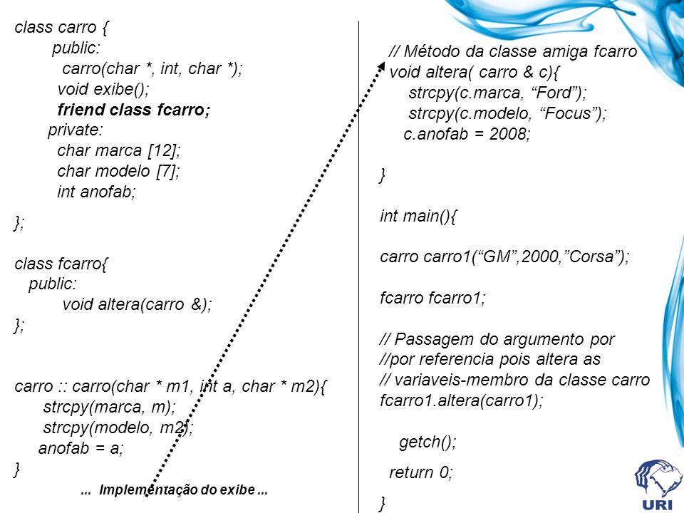class carro { public: carro(char *, int, char *); void exibe(); friend class fcarro; private: char marca [12]; char modelo [7]; int anofab; }; class f