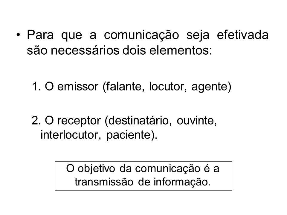 Para que a comunicação seja efetivada são necessários dois elementos: 1. O emissor (falante, locutor, agente) 2. O receptor (destinatário, ouvinte, in