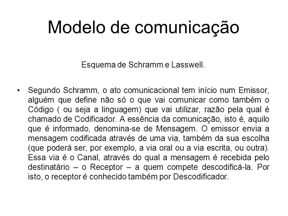 Modelo de comunicação Esquema de Schramm e Lasswell. Segundo Schramm, o ato comunicacional tem início num Emissor, alguém que define não só o que vai