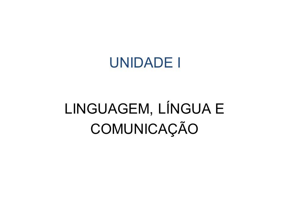 LINGUAGEM, LÍNGUA E COMUNICAÇÃO UNIDADE I