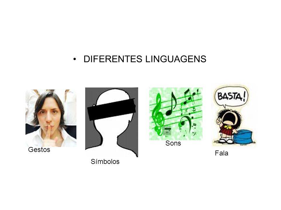 DIFERENTES LINGUAGENS Gestos Símbolos Sons Fala