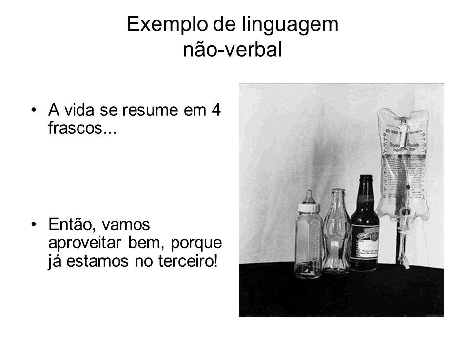 Exemplo de linguagem não-verbal A vida se resume em 4 frascos... Então, vamos aproveitar bem, porque já estamos no terceiro!
