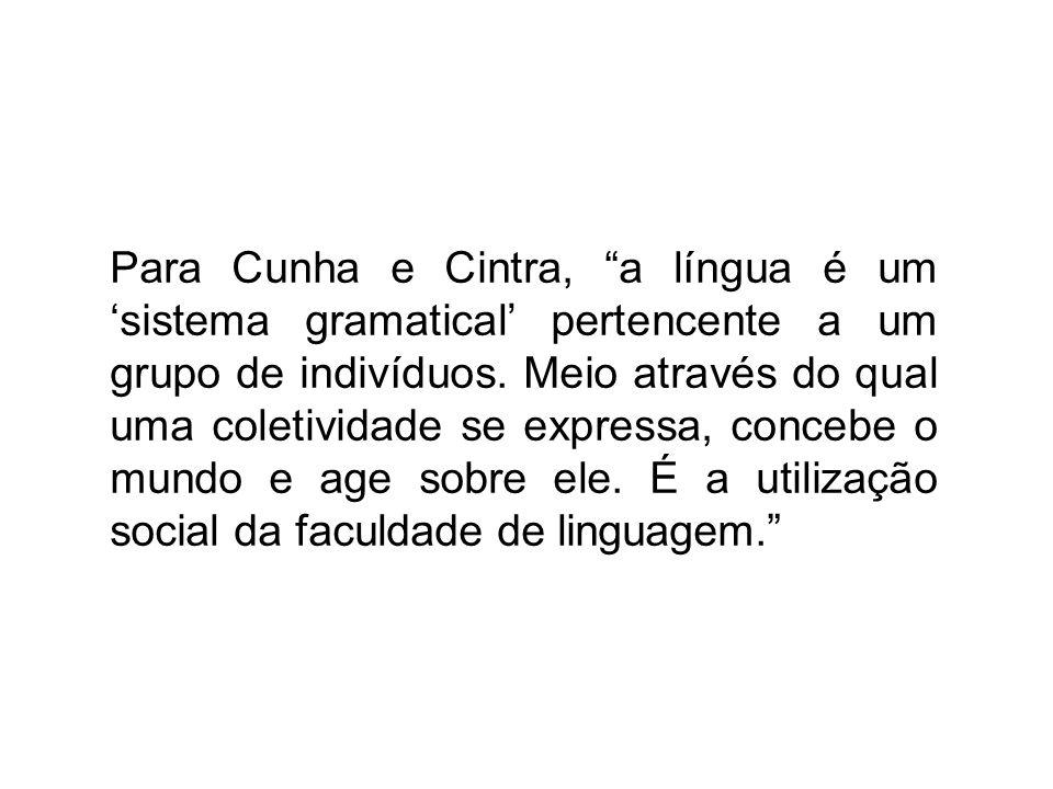 Para Cunha e Cintra, a língua é um sistema gramatical pertencente a um grupo de indivíduos. Meio através do qual uma coletividade se expressa, concebe