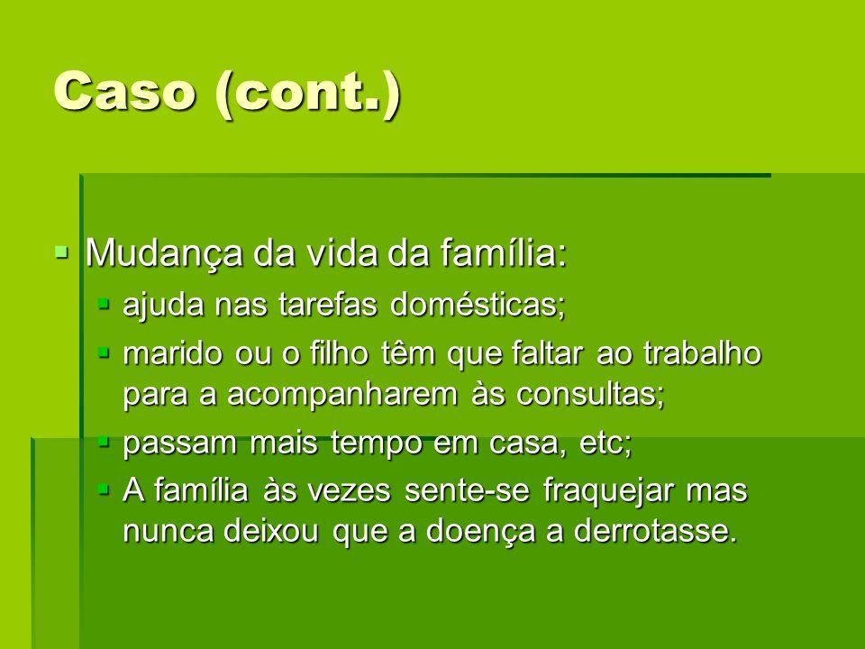 Caso (cont.) Mudança da vida da família: Mudança da vida da família: ajuda nas tarefas domésticas; ajuda nas tarefas domésticas; marido ou o filho têm