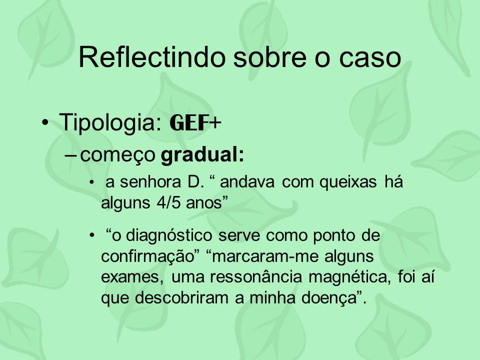 Reflectindo sobre o caso Tipologia: GEF+ –começo gradual: a senhora D. andava com queixas há alguns 4/5 anos o diagnóstico serve como ponto de confirm