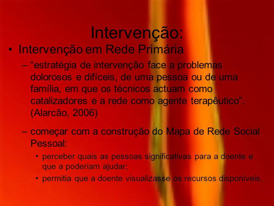 Intervenção: Intervenção em Rede Primária –estratégia de intervenção face a problemas dolorosos e difíceis, de uma pessoa ou de uma família, em que os
