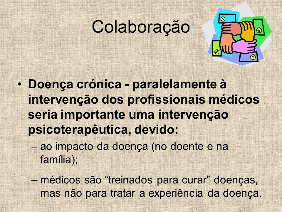 Colaboração Doença crónica - paralelamente à intervenção dos profissionais médicos seria importante uma intervenção psicoterapêutica, devido: –ao impa