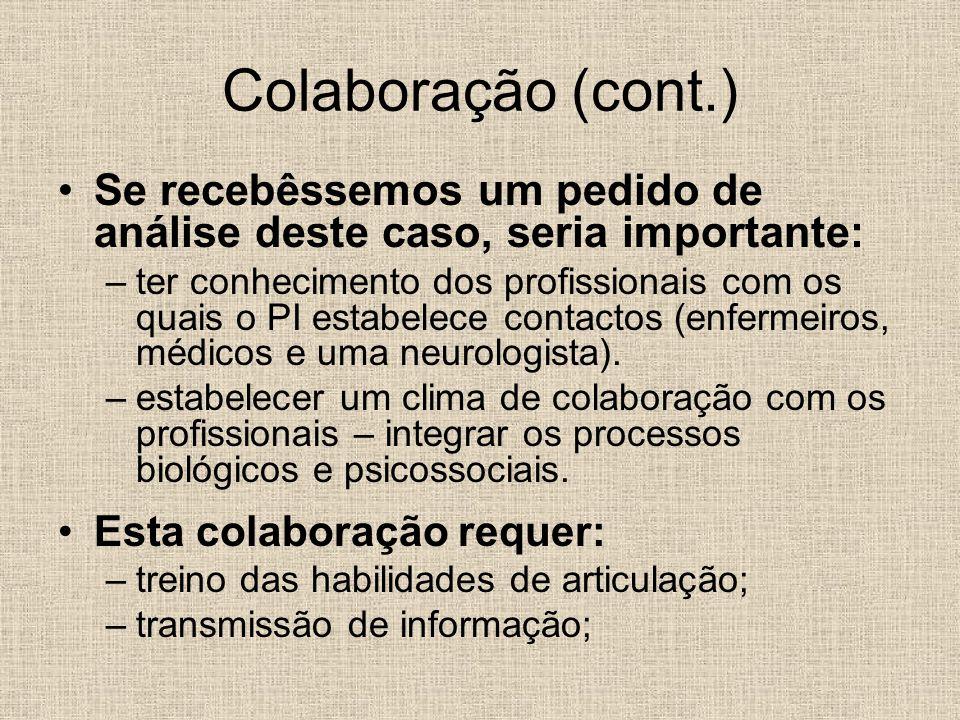 Colaboração (cont.) Se recebêssemos um pedido de análise deste caso, seria importante: –ter conhecimento dos profissionais com os quais o PI estabelec