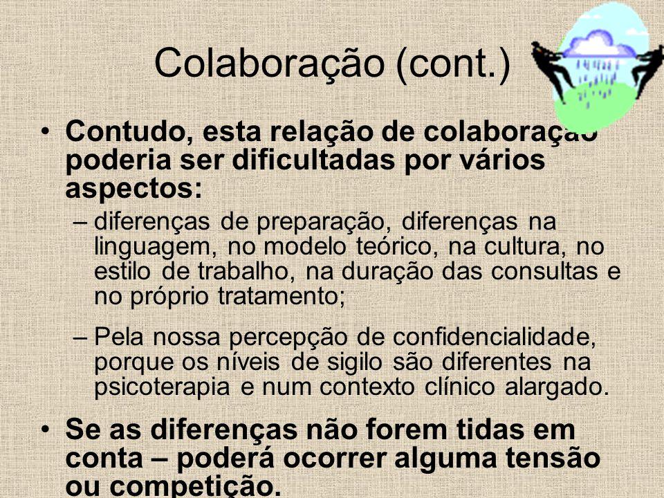 Contudo, esta relação de colaboração poderia ser dificultadas por vários aspectos: –diferenças de preparação, diferenças na linguagem, no modelo teóri