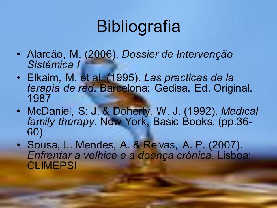 Bibliografia Alarcão, M. (2006). Dossier de Intervenção Sistémica I Elkaim, M. et al. (1995). Las practicas de la terapia de red. Barcelona: Gedisa. E