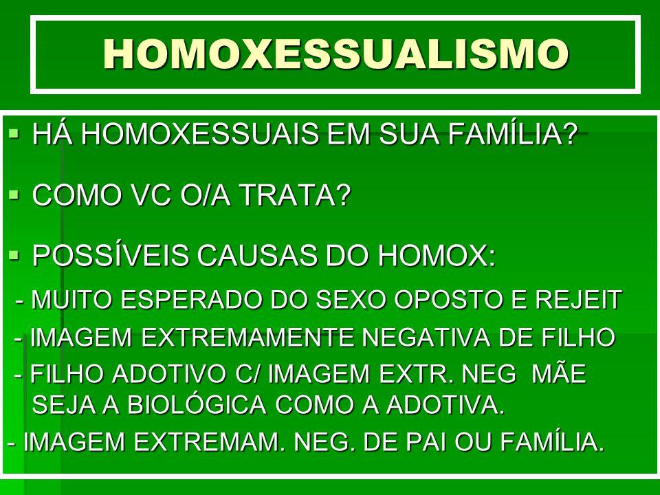 HOMOXESSUALISMO HÁ HOMOXESSUAIS EM SUA FAMÍLIA? HÁ HOMOXESSUAIS EM SUA FAMÍLIA? COMO VC O/A TRATA? COMO VC O/A TRATA? POSSÍVEIS CAUSAS DO HOMOX: POSSÍ