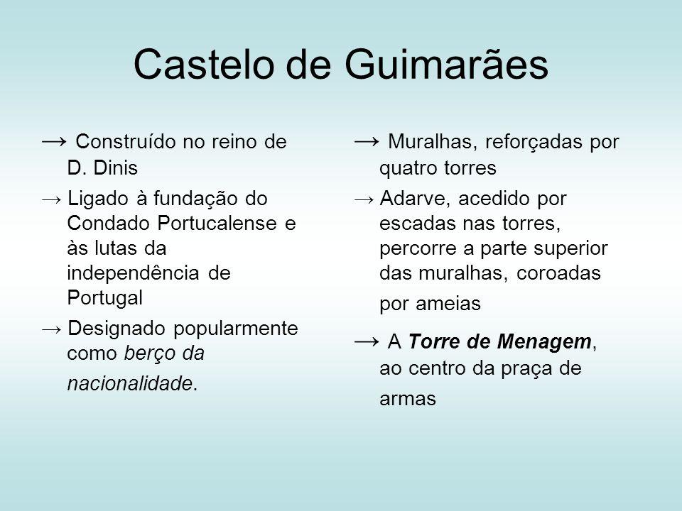 Castelo de Guimarães Construído no reino de D. Dinis Ligado à fundação do Condado Portucalense e às lutas da independência de Portugal Designado popul