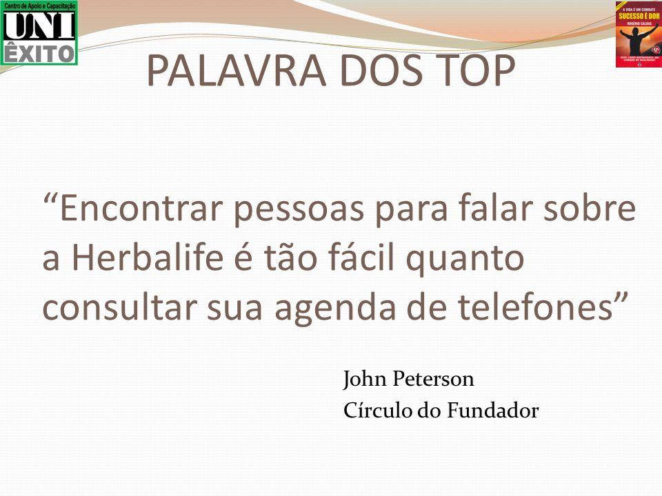 Encontrar pessoas para falar sobre a Herbalife é tão fácil quanto consultar sua agenda de telefones John Peterson Círculo do Fundador PALAVRA DOS TOP