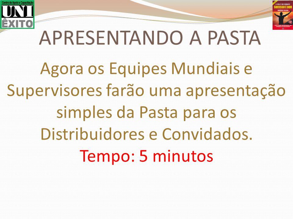 Agora os Equipes Mundiais e Supervisores farão uma apresentação simples da Pasta para os Distribuidores e Convidados. Tempo: 5 minutos APRESENTANDO A