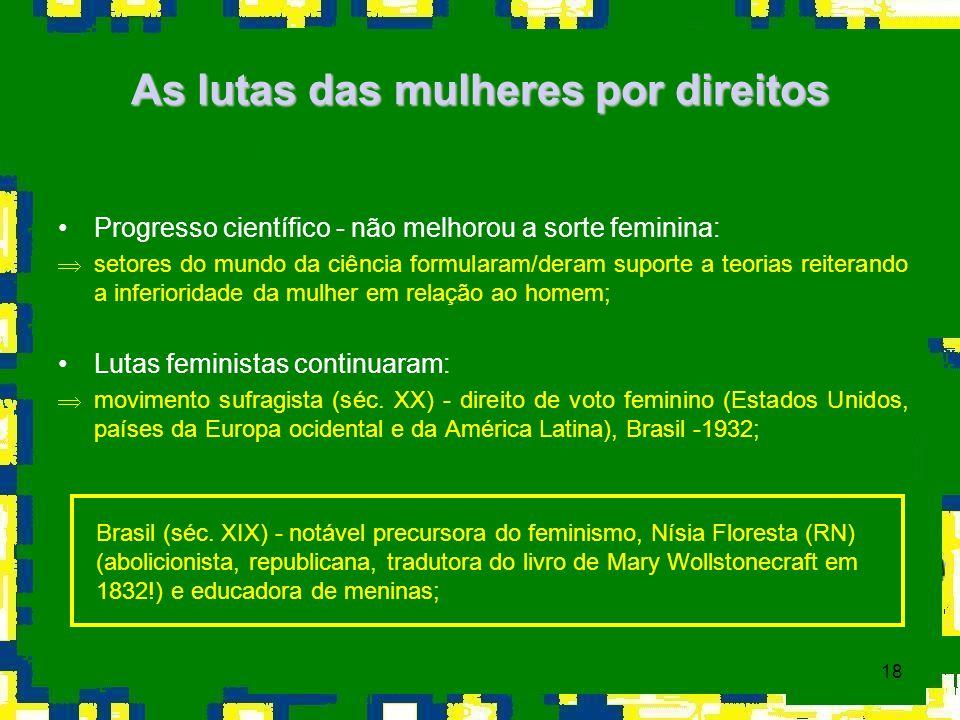 18 As lutas das mulheres por direitos Progresso científico - não melhorou a sorte feminina: Þsetores do mundo da ciência formularam/deram suporte a te