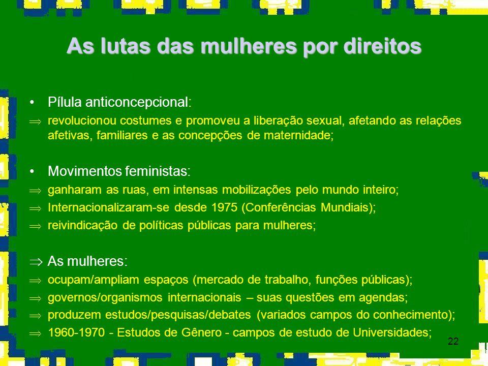 22 As lutas das mulheres por direitos Pílula anticoncepcional: Þrevolucionou costumes e promoveu a liberação sexual, afetando as relações afetivas, fa