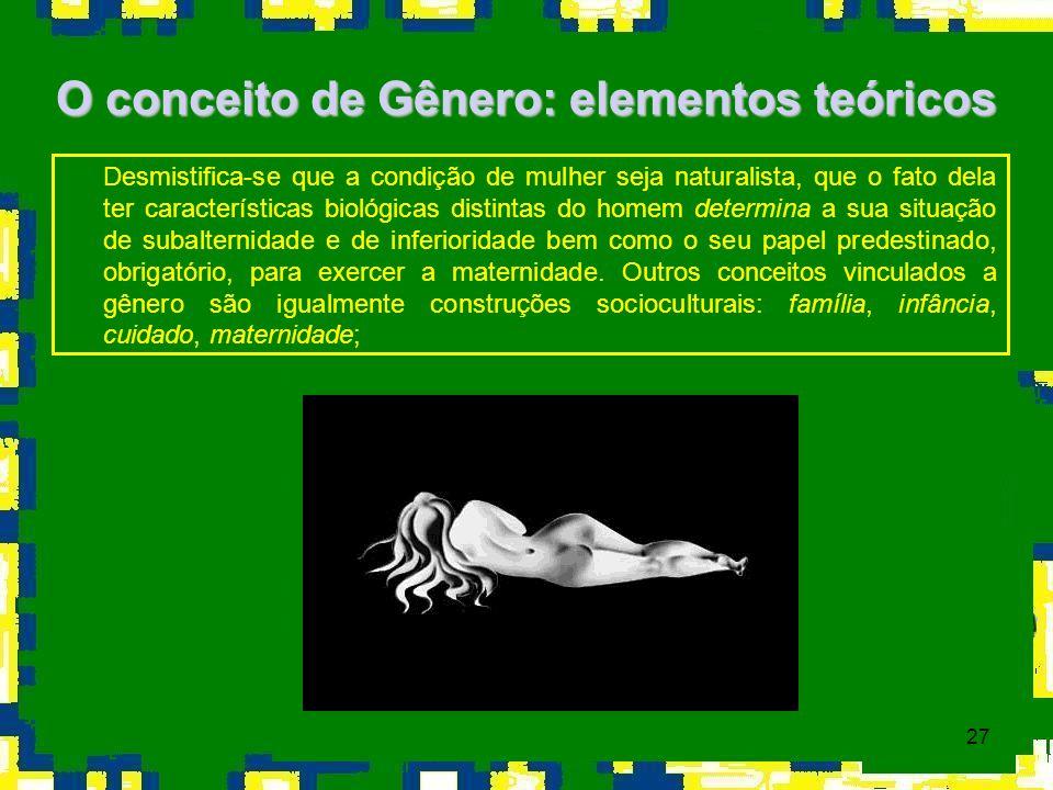 27 O conceito de Gênero: elementos teóricos Desmistifica-se que a condição de mulher seja naturalista, que o fato dela ter características biológicas
