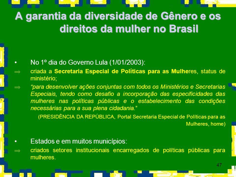 47 A garantia da diversidade de Gênero e os direitos da mulher no Brasil No 1º dia do Governo Lula (1/01/2003): Þcriada a Secretaria Especial de Polít