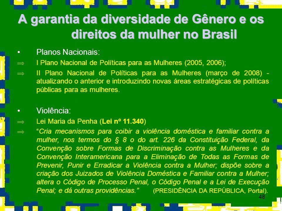 48 A garantia da diversidade de Gênero e os direitos da mulher no Brasil Planos Nacionais: ÞI Plano Nacional de Políticas para as Mulheres (2005, 2006