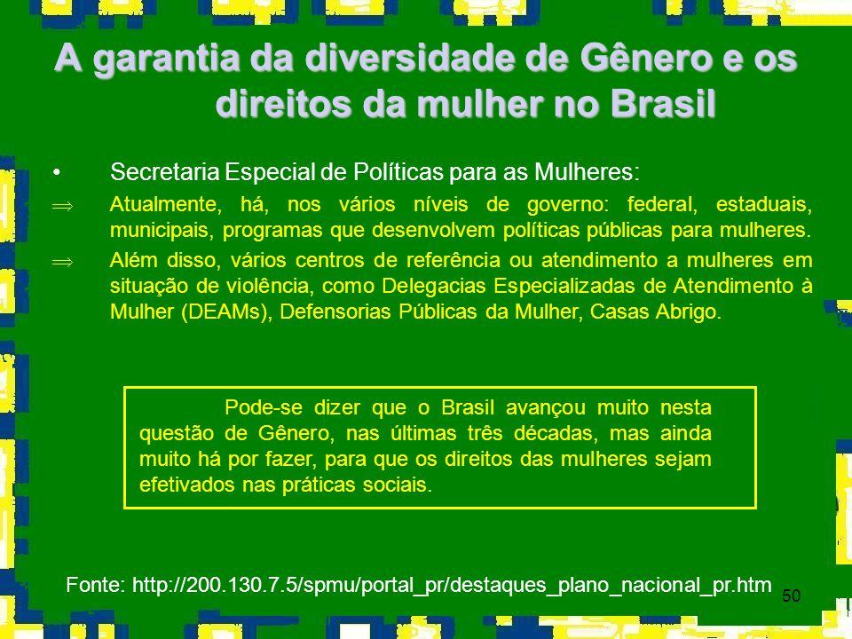 50 A garantia da diversidade de Gênero e os direitos da mulher no Brasil Secretaria Especial de Políticas para as Mulheres: ÞAtualmente, há, nos vário