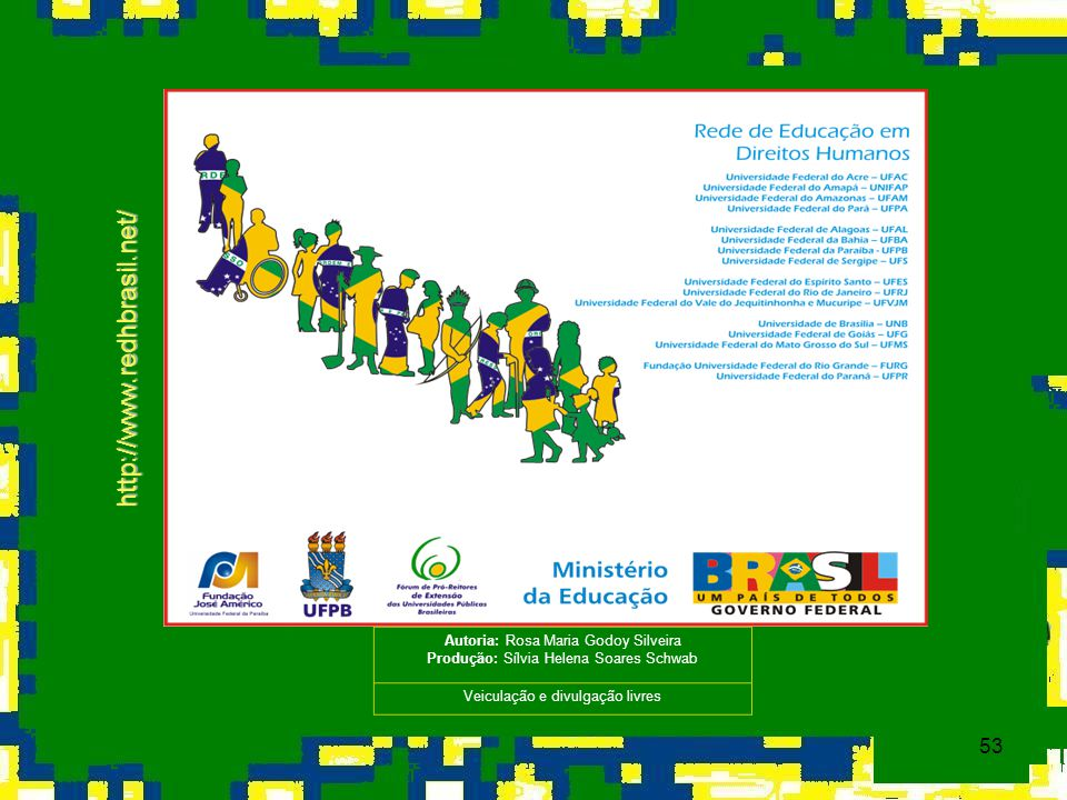 53 http://www.redhbrasil.net/ Autoria: Rosa Maria Godoy Silveira Produção: Sílvia Helena Soares Schwab Veiculação e divulgação livres