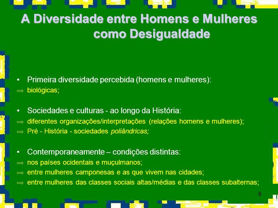 6 A Diversidade entre Homens e Mulheres como Desigualdade Primeira diversidade percebida (homens e mulheres): Þbiológicas; Sociedades e culturas - ao