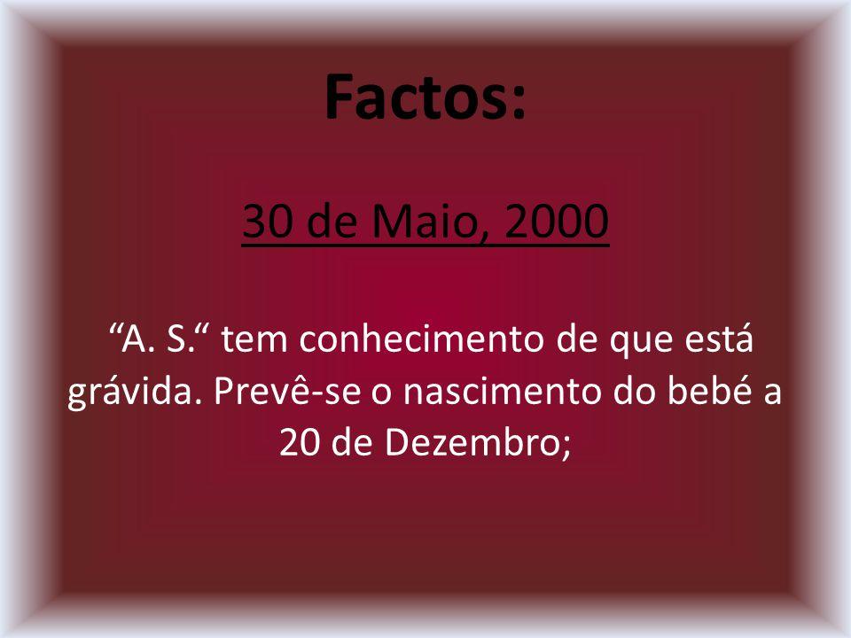 Factos: 30 de Maio, 2000 A. S. tem conhecimento de que está grávida.
