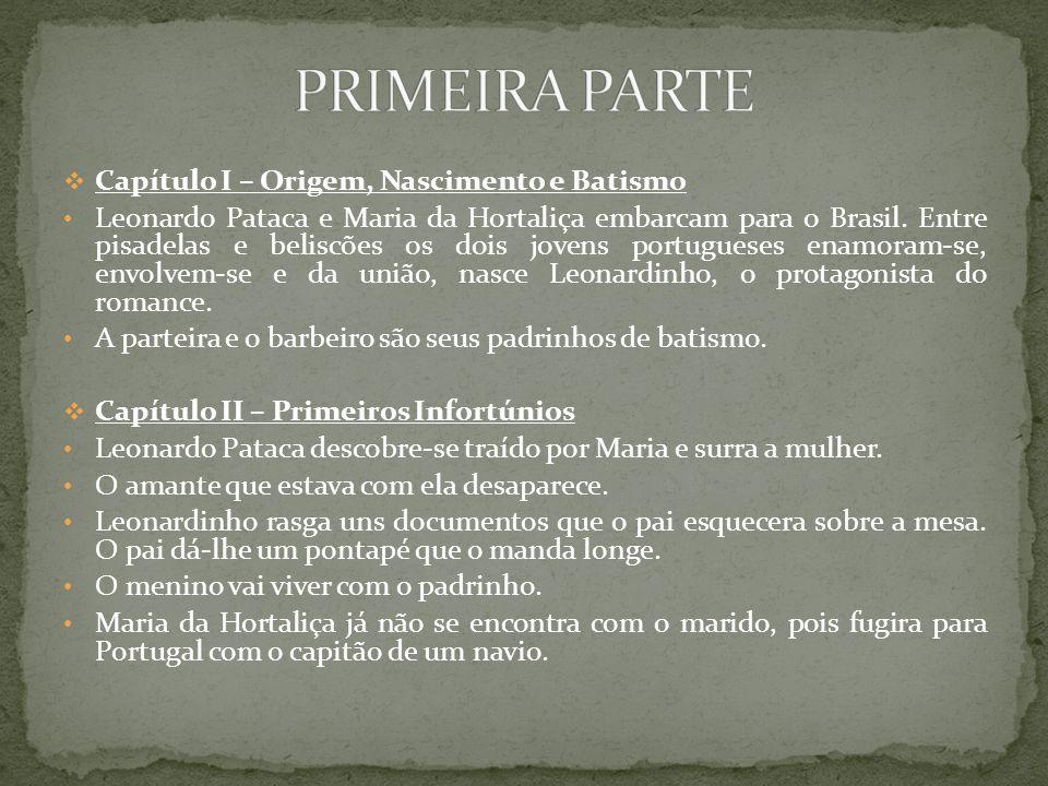 Capítulo I – Origem, Nascimento e Batismo Leonardo Pataca e Maria da Hortaliça embarcam para o Brasil. Entre pisadelas e beliscões os dois jovens port