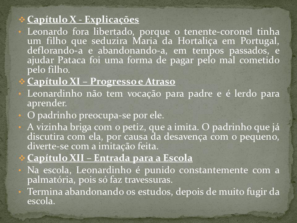 Capítulo X - Explicações Leonardo fora libertado, porque o tenente-coronel tinha um filho que seduzira Maria da Hortaliça em Portugal, deflorando-a e