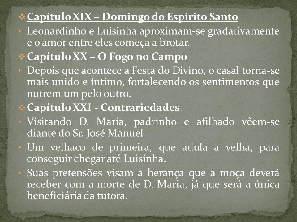 Capítulo XIX – Domingo do Espírito Santo Leonardinho e Luisinha aproximam-se gradativamente e o amor entre eles começa a brotar. Capítulo XX – O Fogo