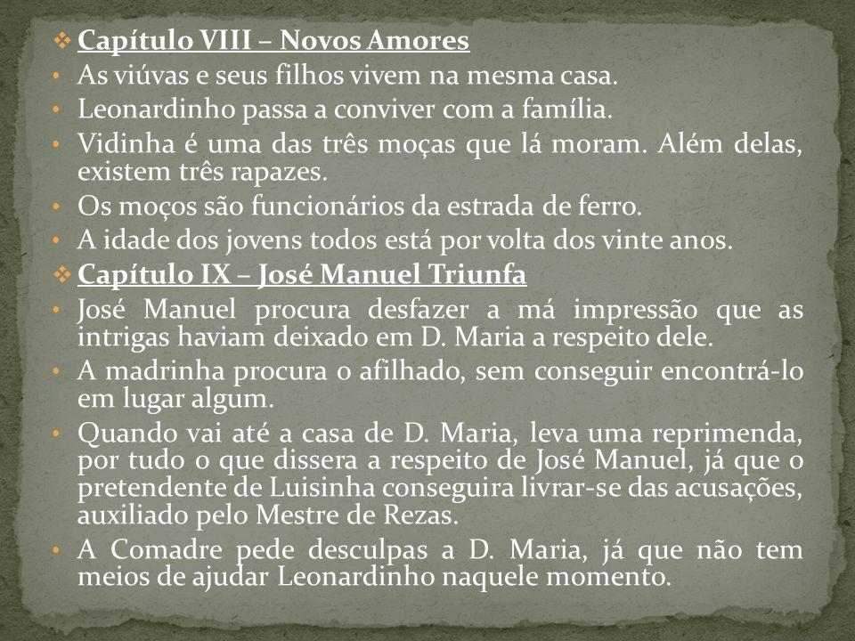 Capítulo VIII – Novos Amores As viúvas e seus filhos vivem na mesma casa. Leonardinho passa a conviver com a família. Vidinha é uma das três moças que