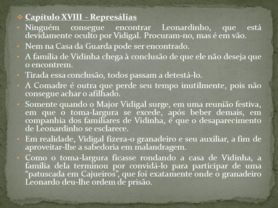 Capítulo XVIII - Represálias Ninguém consegue encontrar Leonardinho, que está devidamente oculto por Vidigal. Procuram-no, mas é em vão. Nem na Casa d