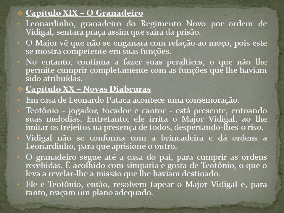 Capítulo XIX – O Granadeiro Leonardinho, granadeiro do Regimento Novo por ordem de Vidigal, sentara praça assim que saíra da prisão. O Major vê que nã