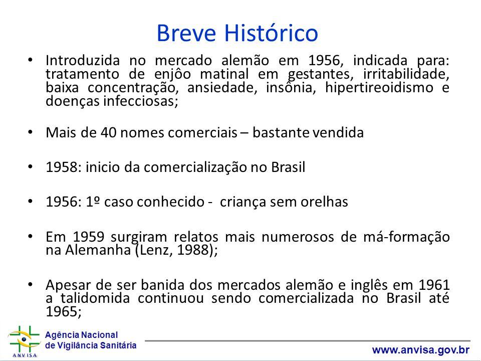 Breve Histórico Ainda na década de 60 a Talidomida voltou a ser utilizada no Brasil para o tratamento da Hanseníase (uso regulamentado pelo MS); O medicamento Talidomida faz parte da Relação Nacional de Medicamentos Essenciais (Rename 2010).
