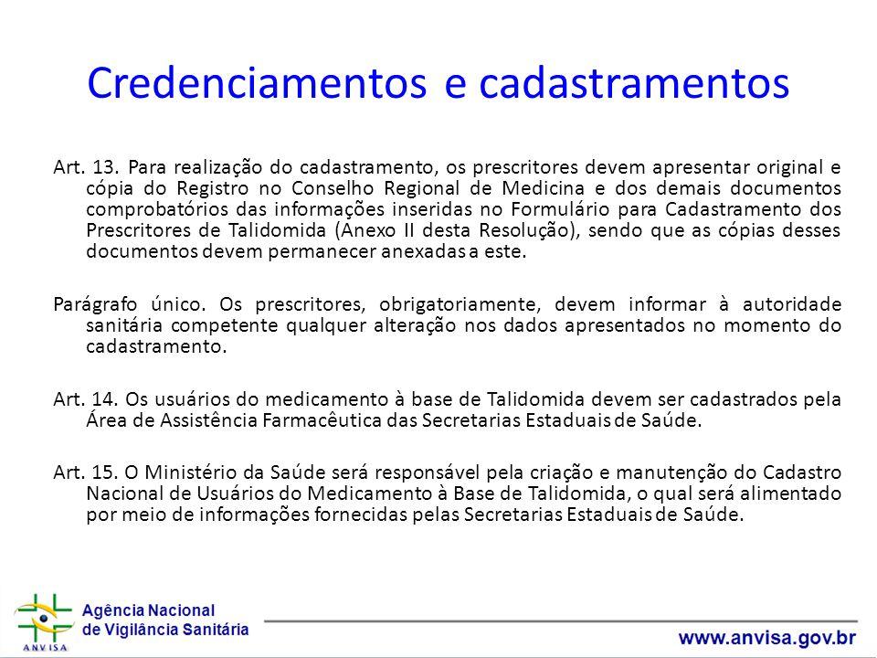 Credenciamentos e cadastramentos Art.13.