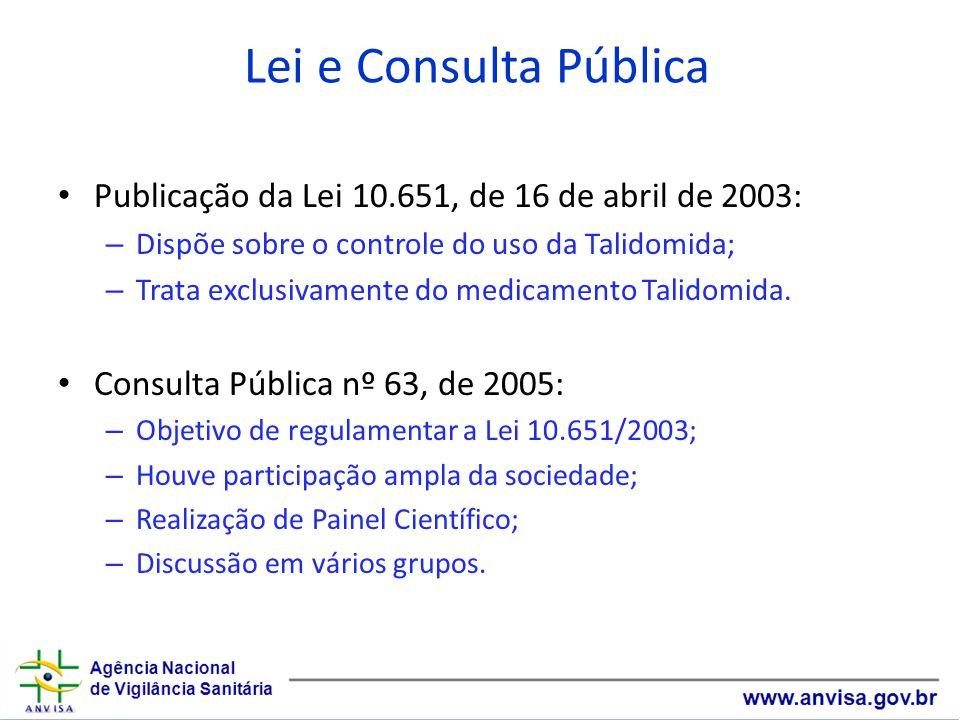 Lei e Consulta Pública Publicação da Lei 10.651, de 16 de abril de 2003: – Dispõe sobre o controle do uso da Talidomida; – Trata exclusivamente do medicamento Talidomida.