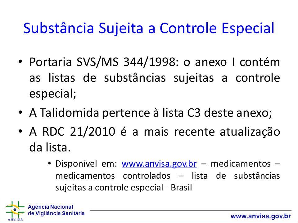 Substância Sujeita a Controle Especial Portaria SVS/MS 344/1998: o anexo I contém as listas de substâncias sujeitas a controle especial; A Talidomida pertence à lista C3 deste anexo; A RDC 21/2010 é a mais recente atualização da lista.