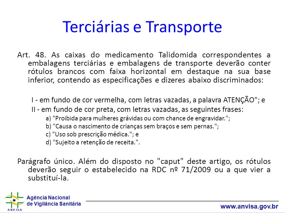 Terciárias e Transporte Art.48.