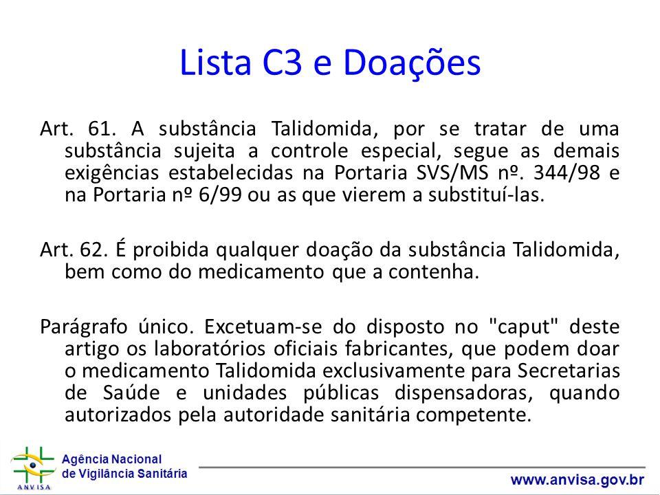 Lista C3 e Doações Art.61.