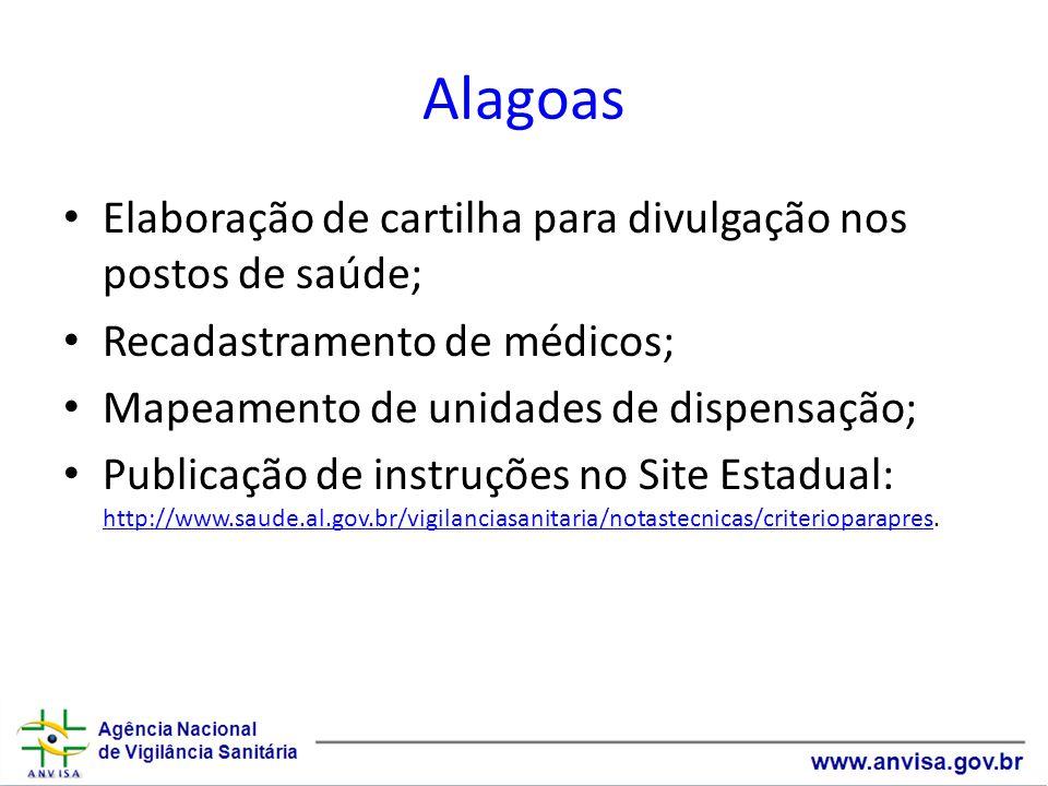 Alagoas Elaboração de cartilha para divulgação nos postos de saúde; Recadastramento de médicos; Mapeamento de unidades de dispensação; Publicação de instruções no Site Estadual: http://www.saude.al.gov.br/vigilanciasanitaria/notastecnicas/criterioparapres.