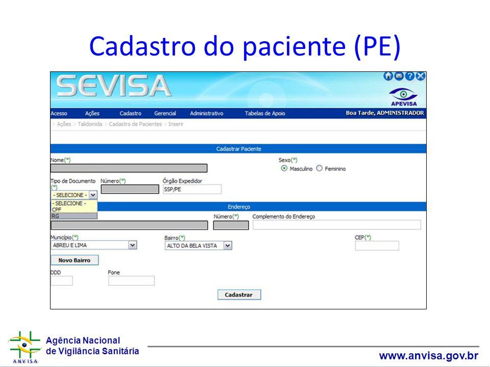 Cadastro do paciente (PE)
