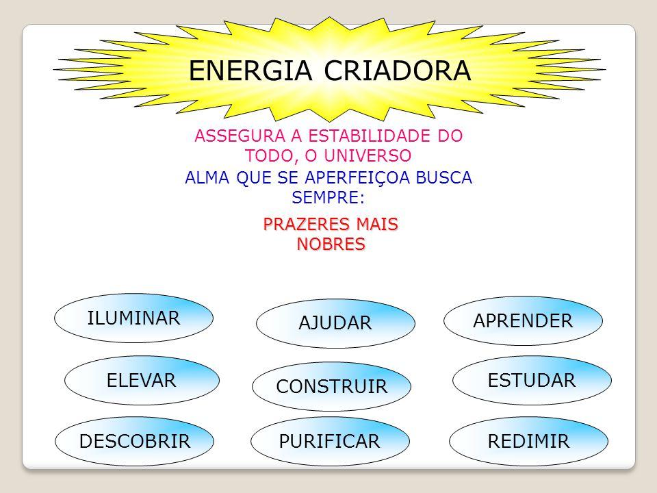 ENERGIA CRIADORA ASSEGURA A ESTABILIDADE DO TODO, O UNIVERSO ALMA QUE SE APERFEIÇOA BUSCA SEMPRE: PRAZERES MAIS NOBRES REDIMIR PURIFICAR APRENDER DESCOBRIR ILUMINAR ELEVAR CONSTRUIR ESTUDAR AJUDAR