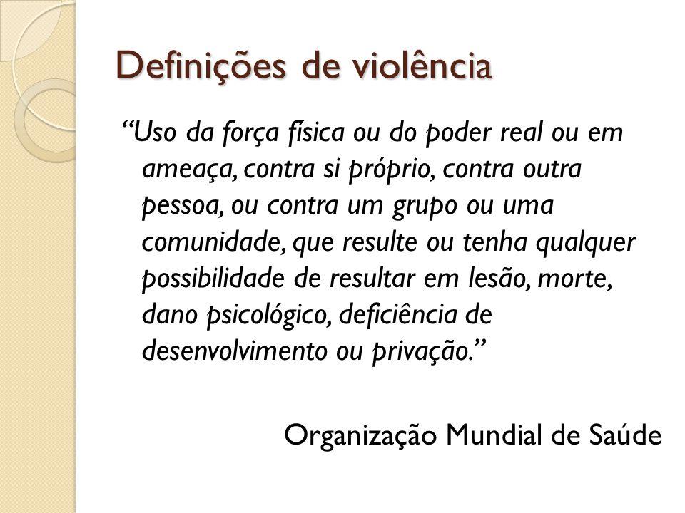 Definições de violência Uso da força física ou do poder real ou em ameaça, contra si próprio, contra outra pessoa, ou contra um grupo ou uma comunidad