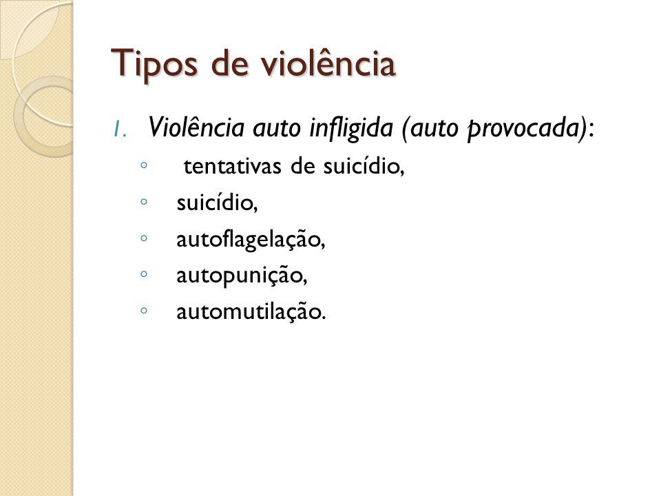 Tipos de violência 1. Violência auto infligida (auto provocada): tentativas de suicídio, suicídio, autoflagelação, autopunição, automutilação.