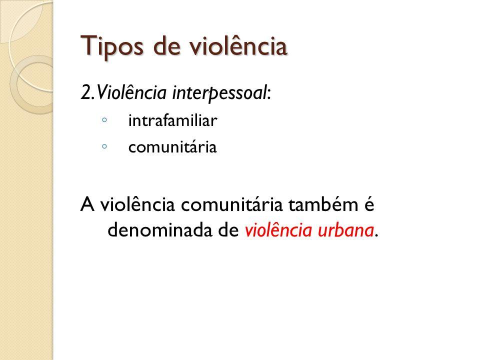 Tipos de violência Violência intrafamiliar: entre os membros da própria família, entre pessoas que têm grau de parentesco, ou entre pessoas que possuem vínculos afetivos.