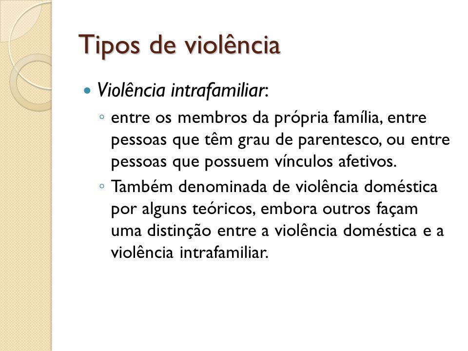 Tipos de violência Violência intrafamiliar: entre os membros da própria família, entre pessoas que têm grau de parentesco, ou entre pessoas que possue