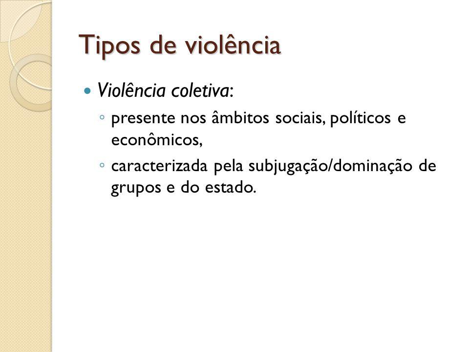 Tipos de violência Violência coletiva: presente nos âmbitos sociais, políticos e econômicos, caracterizada pela subjugação/dominação de grupos e do es
