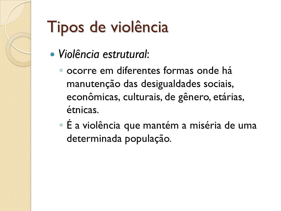 Tipos de violência Violência estrutural: ocorre em diferentes formas onde há manutenção das desigualdades sociais, econômicas, culturais, de gênero, e